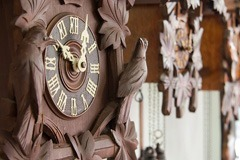 Wooden clock with birds